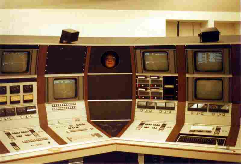 A view of the original MOTC (Main Origination Technical Center) control console. That face peeking out from the center panel belongs to Ralph Woods...just being Ralph.