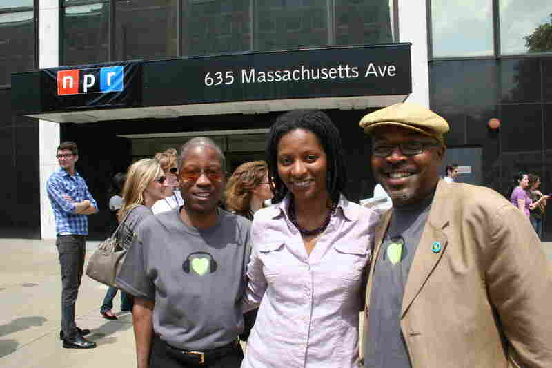NPR staffers in front of NPR's DC building.