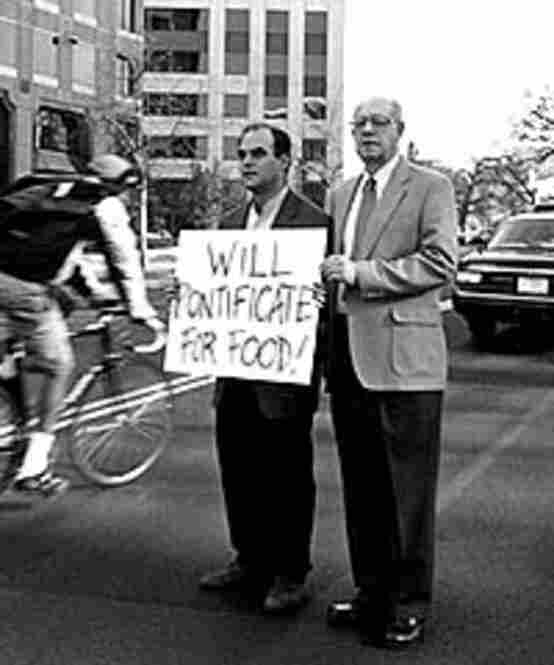 """The message from Wait Wait ... Don't Tell Me!'s Peter Sagal and Carl Kasell: """"Will Pontificate for Food!"""""""