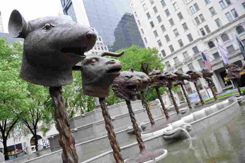 """Circle of Animals/Zodiac Heads,"" the first major public sculpture installation by contemporary Chinese artist Ai Weiwei, was formally opened Wednesday in New York."