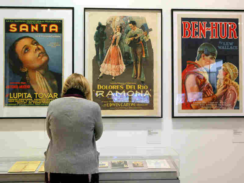 Displays at La Plaza include film posters featuring Mexican actresses Lupita Tovar and Dolores del Rio, as well as Mexican actor Ramon Novarro, star of 1925's Ben-Hur.