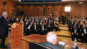 Palestinian Authority head Mahmoud Abbas delivers a speech in Cairo on May 4, 2011 during a Palestinian unity ceremony.