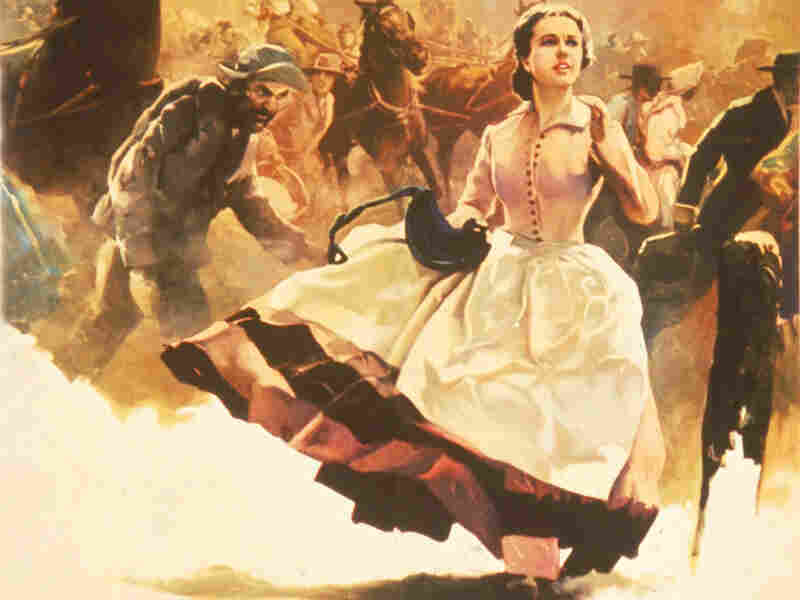 Scarlett O'Hara runs through the street in this image from a 1936 promotional poster for the book Gone With The Wind.