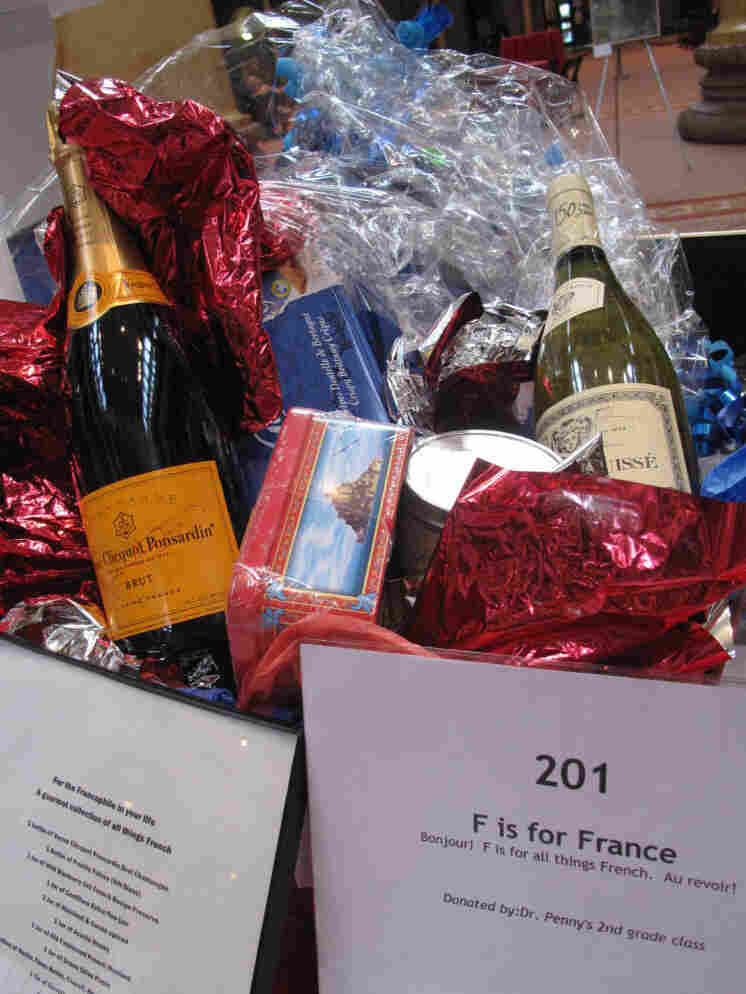 A basket of French items is  showcased at John Eaton Elementary School's recent auction in Washington, D.C.