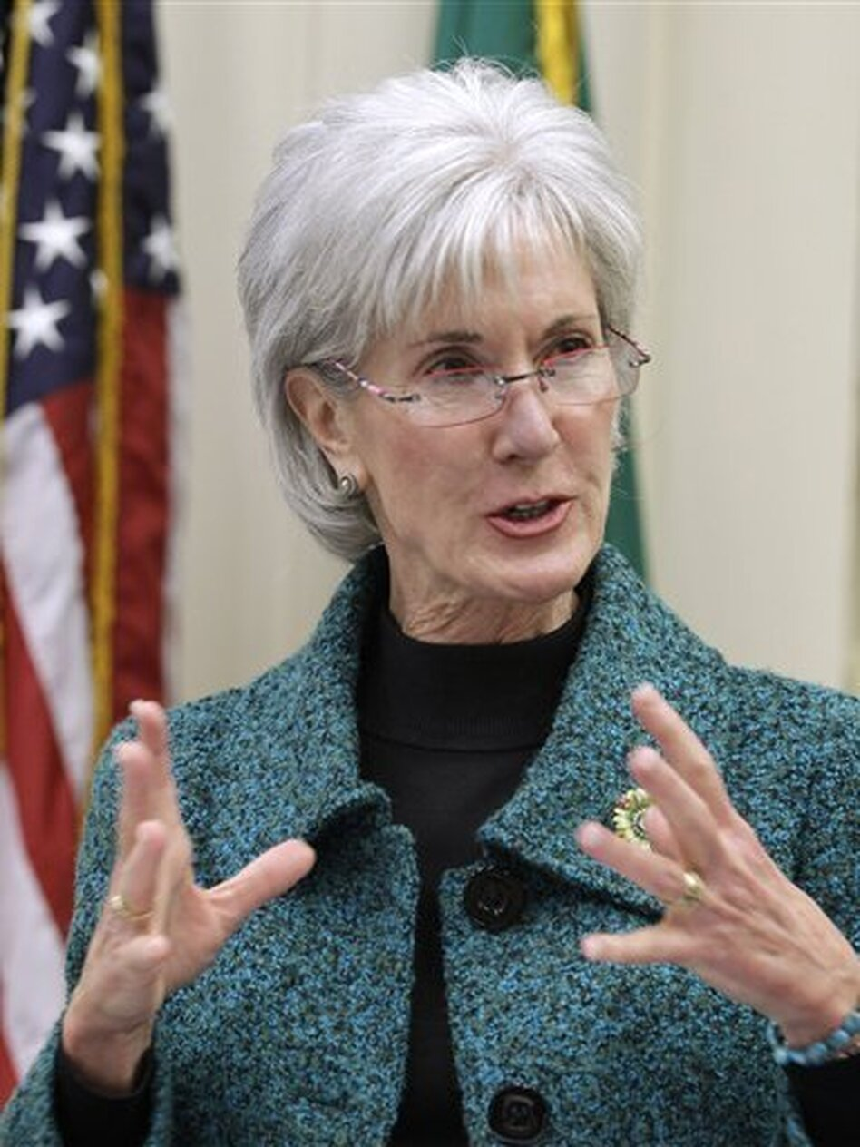 Health and Human Services Secretary Kathleen Sebelius gestures while speaking in Seattle about health care in February.