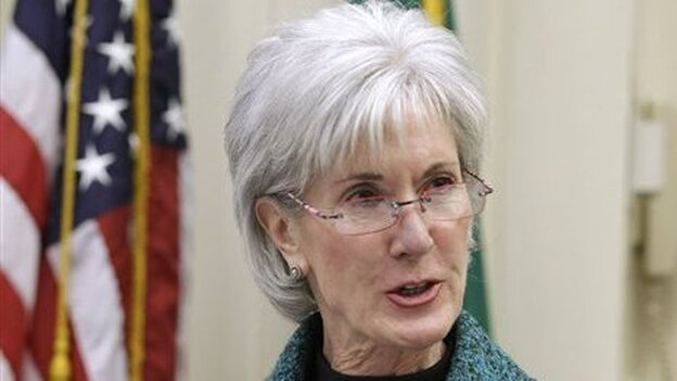 Health and Human Services Secretary Kathleen Sebelius gestures while speaking in Seattle about health care in February. (AP)
