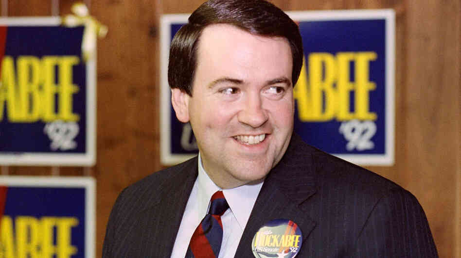 Mike Huckabee, then a Baptist minister and Republican candidate for U.S. Senate, speaks at a news conference in Little Rock, Ark., in 1992 — the year then-Arkansas Gov. Bill Clinton was elected president. Huckabee lost that race, but the next year, won a special election to become lieutenant governor.