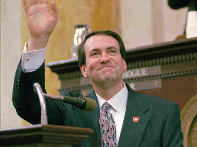 Huckabee, after taking the oath of office at the state Capitol in Little Rock in 1996. He became governor after the resignation of Jim Guy Tucker in the wake of Tucker's Whitewater convictions.