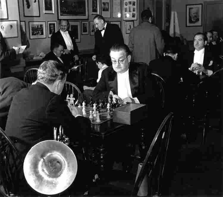 Time backstage for members of the New York Philharmonic to indulge in a quick game of chess.