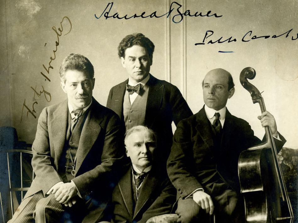 <em>C</em>ellist Pablo Casals, violinist Fritz Kreisler, pianist Harold Bauer and conductor Walter  Damrosch in 1904.