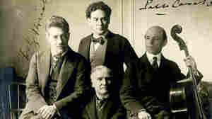 Cellist Pablo Casals, violinist Fritz Kreisler, pianist Harold Bauer and conductor Walter  Damrosch in 1904.