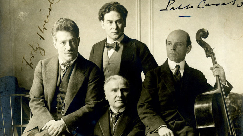 Cellist Pablo Casals, violinist Fritz Kreisler, pianist Harold Bauer and conductor Walter  Damrosch in 1904. (Blaine Littell Collection of Walter Damrosch Memorabilia / Carnegie Hall Archives)