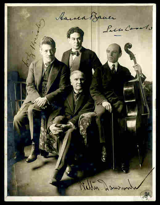 A photo, most likely taken in 1917, commemorates cellist Pablo Casals' first appearance at Carnegie Hall. Alongside violinist Fritz Kreisler and pianist Harold Bauer, he played in a New York Symphony Society performance of Beethoven's Triple Concerto led by Walter Damrosch.