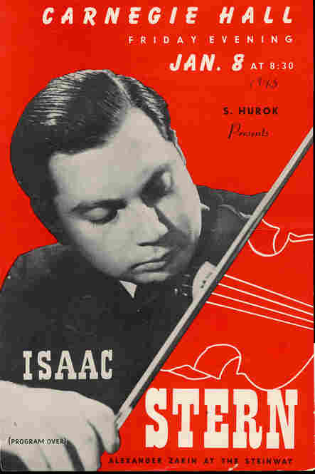 1943: A flyer advertising violinist Isaac Stern's first Carnegie Hall recital. Decades later, Stern was one of the driving forces in the campaign to save Carnegie Hall from demolition in 1960. Today, the main hall is named after him.