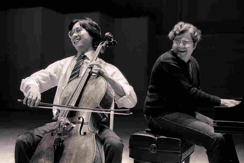 1983: A youthful Yo-Yo Ma and ebullient Emanuel Ax beam with pleasure during a duo recital.
