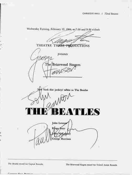 1964: A signed momento from The Beatles' two 35-minute sets at Carnegie Hall on February 12, a night squeezed in between their legendary appearances on The Ed Sullivan Show.