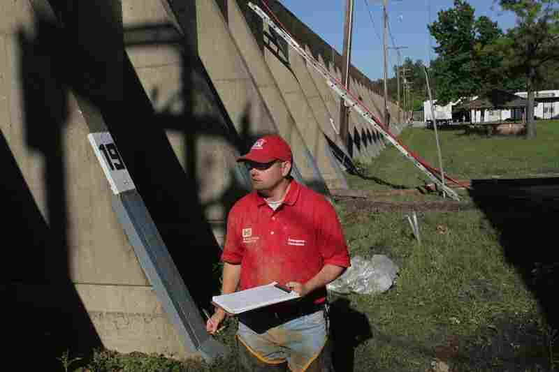 May 4: Mark Mazzone of the Army Corps of Engineers inspects seepage from the Mississippi River coming through the flood wall in Hickman, Ky.