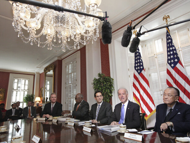 Vice President Biden meets with Republican and Democratic lawmakers at Blair House, the White House guest house, May 5, 2011.