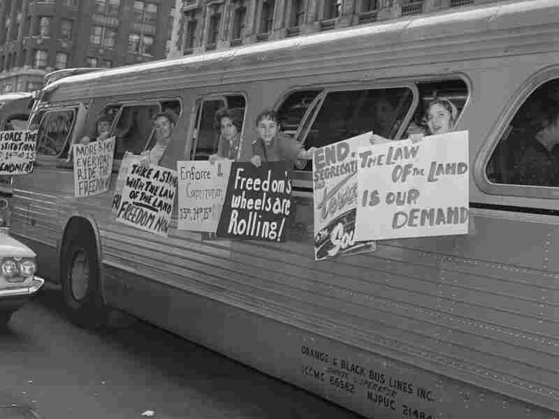 Members of the Washington Freedom Riders Committee prepare to leave New York for Washington, D.C., on May 30, 1961.