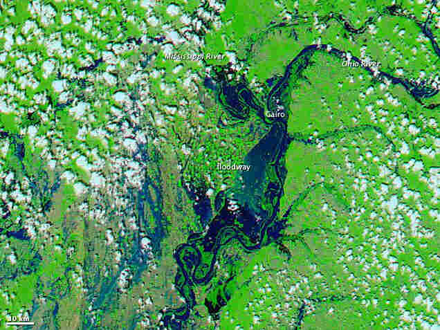 MAY 3: The floodway downstream of Cairo, Illinois is submerged.