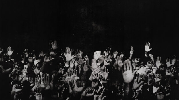 Snapshot Of History: Silkscreened from a newspaper photograph, Glenn Ligon's Hands takes a moment from Louis Farrakhan's Million Man March and strips it of its context.