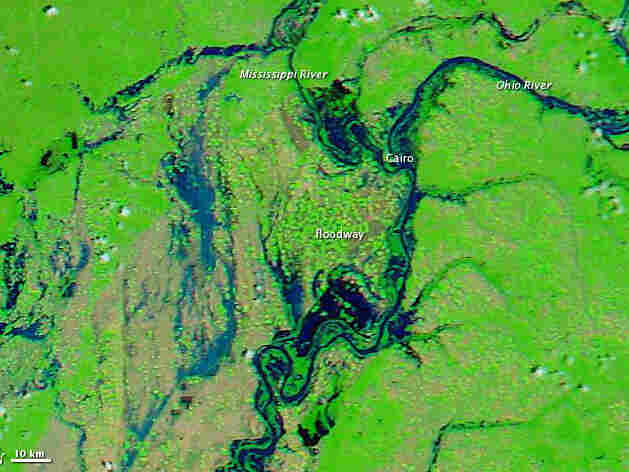APRIL 29: Before the levee breach,  the image shows flooded conditions along the Ohio and Mississippi Rivers.