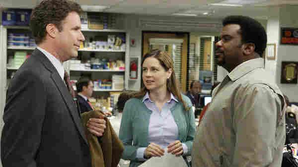 Will Ferrell as Deangelo Vickers, Jenna Fischer as Pam Beesly, Craig Robinson as Darryl Philbin.