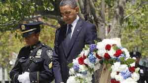 President Obama pauses after laying a wreath at the National Sept. 11 Memorial at Ground Zero in New York, Thursday, May 5, 2011.