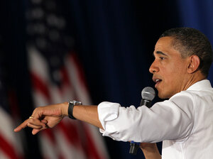 President Obama speaks during a town hall-style meeting April 20 at Facebook headquarters in Palo Alto, Calif.