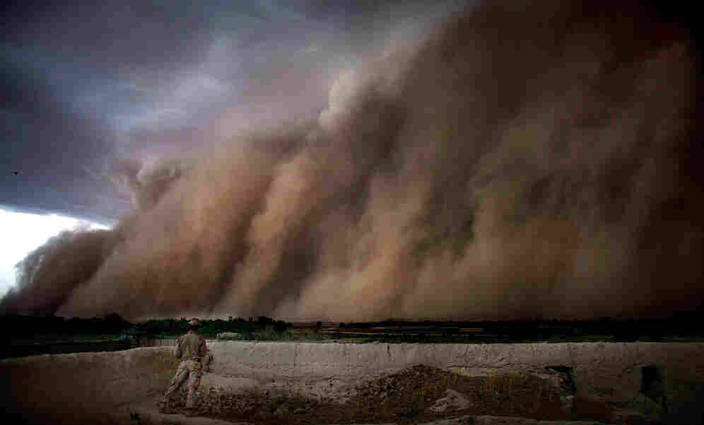 A storm sweeps through Sangin District, Afghanistan