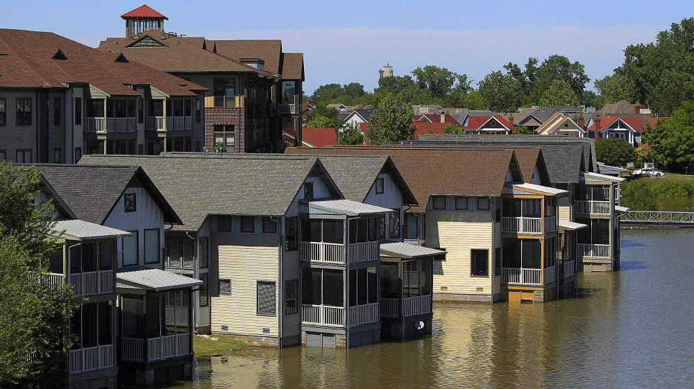 Homes on Mud Island near Memphis, Tenn. are usually safe but now face flooding from the Mississippi River.