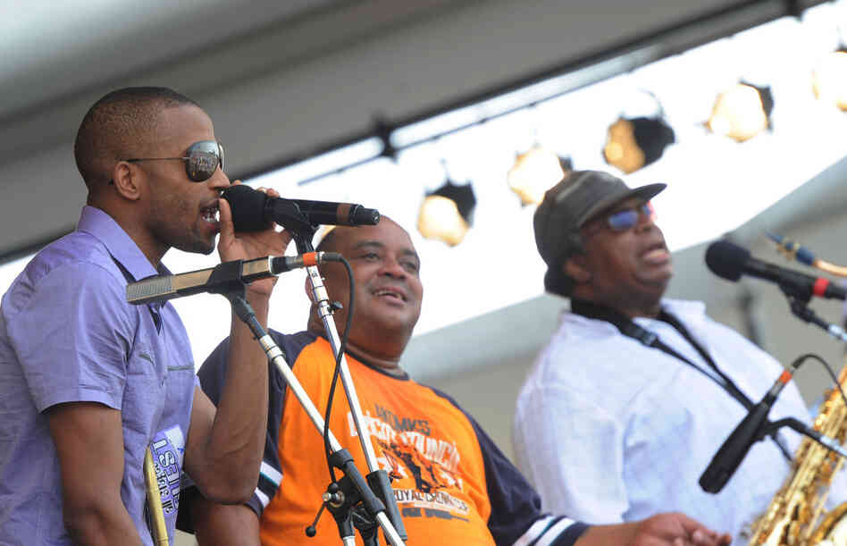 Trombone Shorty joins The Dirty Dozen Brass Band at the 2011 New Orleans Jazz and Heritage Festival.