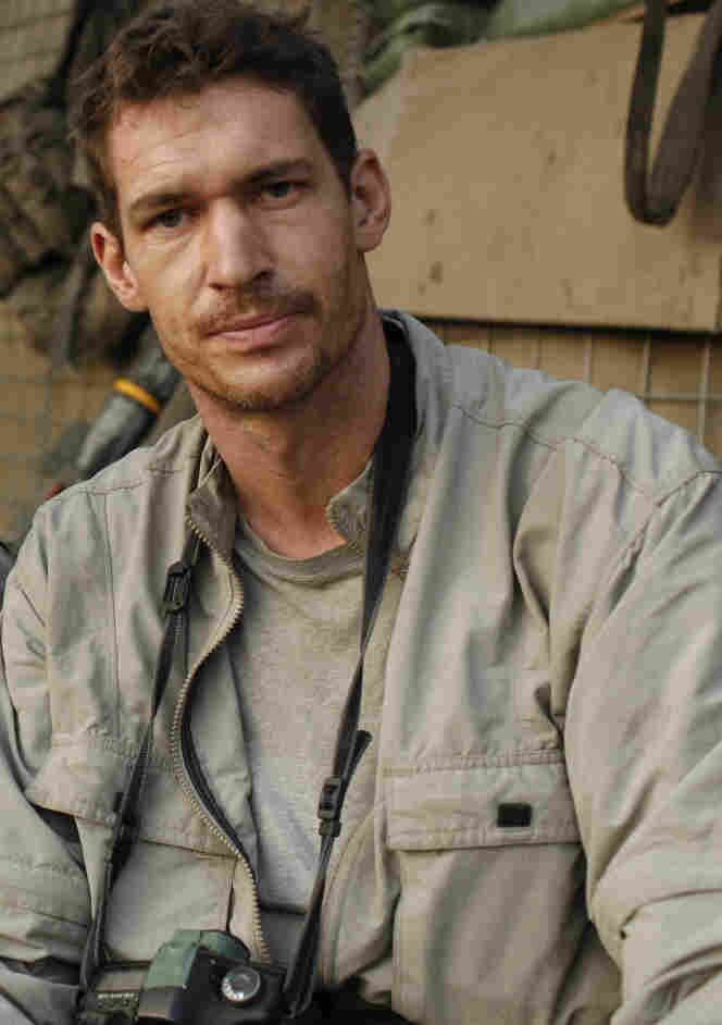 Photographer  Tim Hetherington at the Restrepo outpost in the Korengal Valley, Afghanistan, during the filming of his documentary  Restrepo. Hetherington was killed in Misrata, Libya, on April 20.