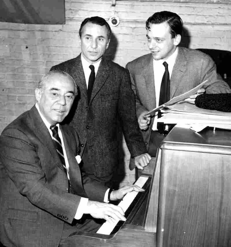 Playwright Arthur Laurents (center) is shown with collaborators Richard Rodgers (seated) and Stephen Sondheim as they begin work on the new musical Do I Hear a Waltz? in New York City in December 1964. Laurents died on Thursday at age 93.