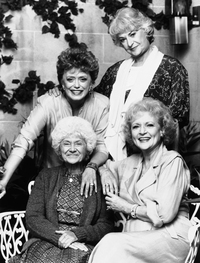 Betty White (bottom right) poses with her Golden Girls co-stars on set in October 1989. Clockwise from top left: Rue McClanahan, Beatrice Arthur, White and Estelle Getty.