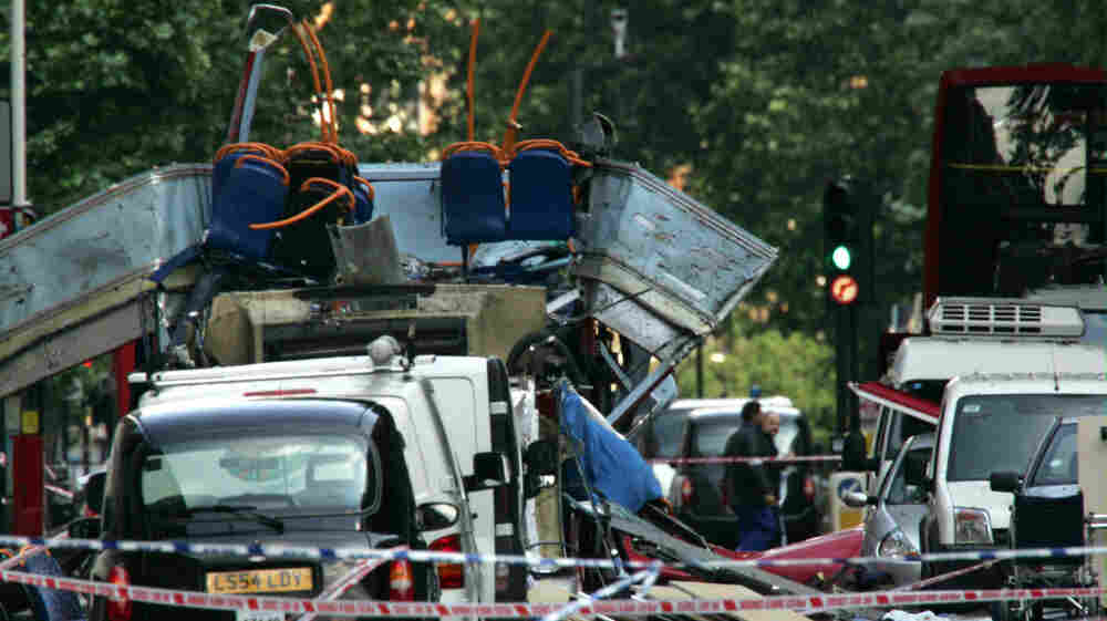 Wreckage from a London bus bombed on July 7, 2005 during rush hour.