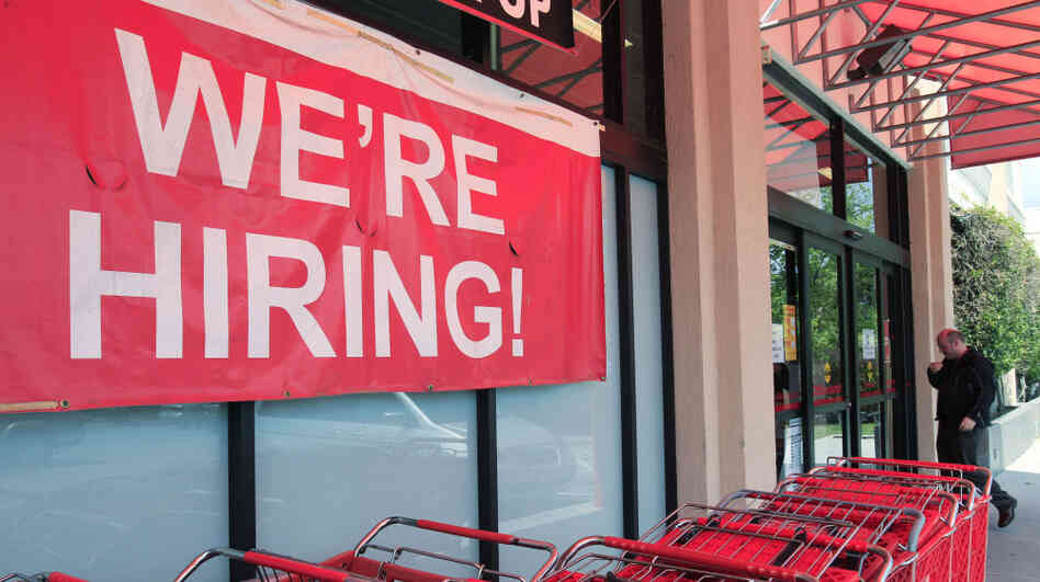 An Office Depot store in Mountain View, Calif., was looking to hire new employees last month. Retailers led the way in hiring for April, with 57,000 jobs.