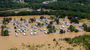 Mobile homes overflowed by floodwaters along the Wolf River in Memphis, Tenn., earlier this week.