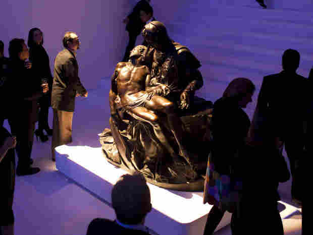 "A bronze cast of Michelangelo's Pieta is on display at the new Soumaya Museum in Mexico   City. The original work is a white marble sculpture. ""It's unclear to me why anybody would want a bronze version of it, and why you would display such a thing in an art museum, since it is neither a Michelangelo nor a close approximation of the Michelangelo,"" says art history professor James Oles."