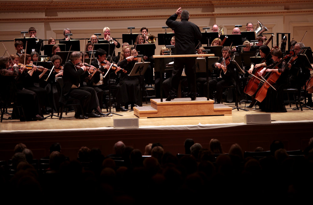 "The Toledo Symphony with Stefan Sanderling, Principal Conductor, performing ""Symphony No.6 in B minor, Op. 54"" by Dmitri Shostakovich during the first half of the Spring for Music festival at Carnegie Hall in Manhattan, New York on May 07, 2011."