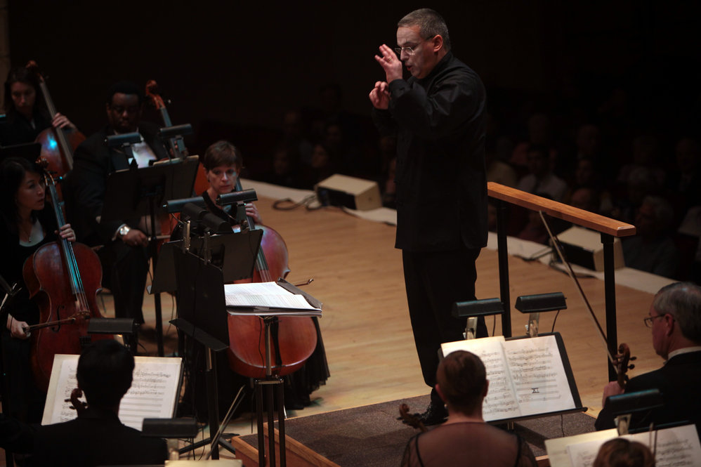 "The Toledo Symphony with Stefan Sanderling, Principal Conductor, performs ""Every Good Boy Deserves Favour"" by Tom Stoppard and Andre Previn during the second half of the Spring for Music festival at Carnegie Hall in Manhattan, New York on May 07, 2011."