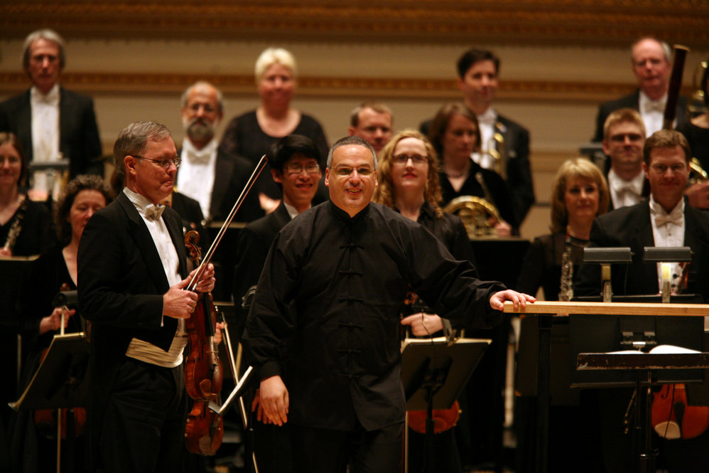 "Stefan Sanderling, center, Principal Conductor with The Toledo Symphony after performing ""Symphony No.6 in B minor, Op. 54"" by Dmitri Shostakovich during the first half of the Spring for Music festival at Carnegie Hall in Manhattan, New York on May 07, 2011."
