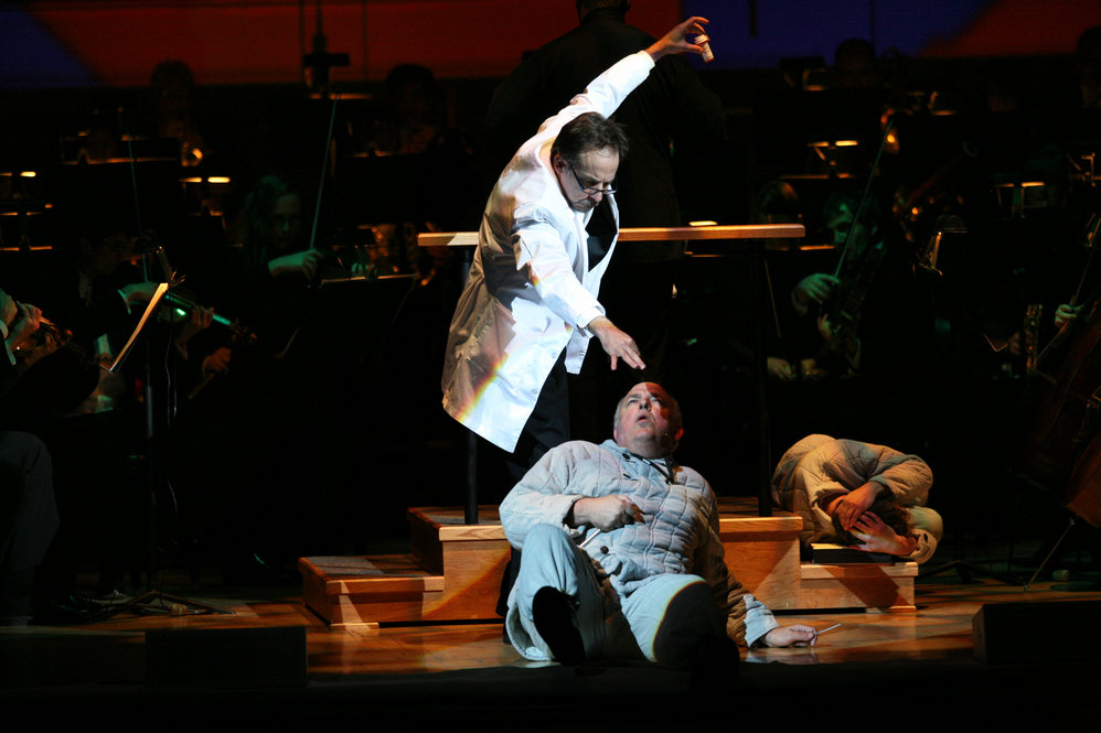 "Benjamin Pryor, left, and David De Christopher, right, performing ""Every Good Boy Deserves Favour"" by Tom Stoppard and Andre Previn during the Toledo Symphony with Stefan Sanderling, Principal Conductor during the second half of the Spring for Music festival at Carnegie Hall in Manhattan, New York on May 07, 2011."