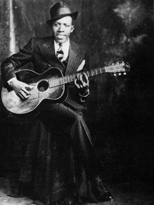 One of the two known photos of Robert Johnson. This portrait was taken by the Hooks Bros. Photography Company in Memphis, Tenn., circa 1935.