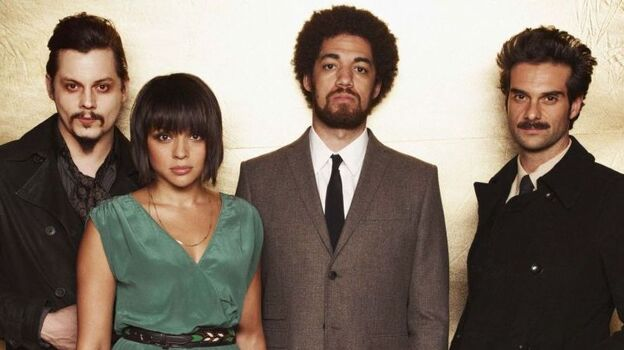 Left to right: Jack White, Norah Jones, Danger Mouse (a.k.a. Brian Burton), Daniele Luppi. Rome comes out May 17. (Courtesy of the artist)