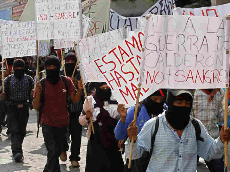 Demonstrators during a four-day silent march in Mexico on Saturday to protest against drug violence.