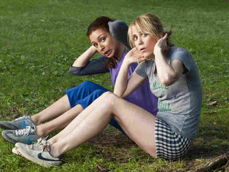 In the run-up to their walk down the aisle, the bride and her maid of honor gate-crash an outdoor  exercise class.