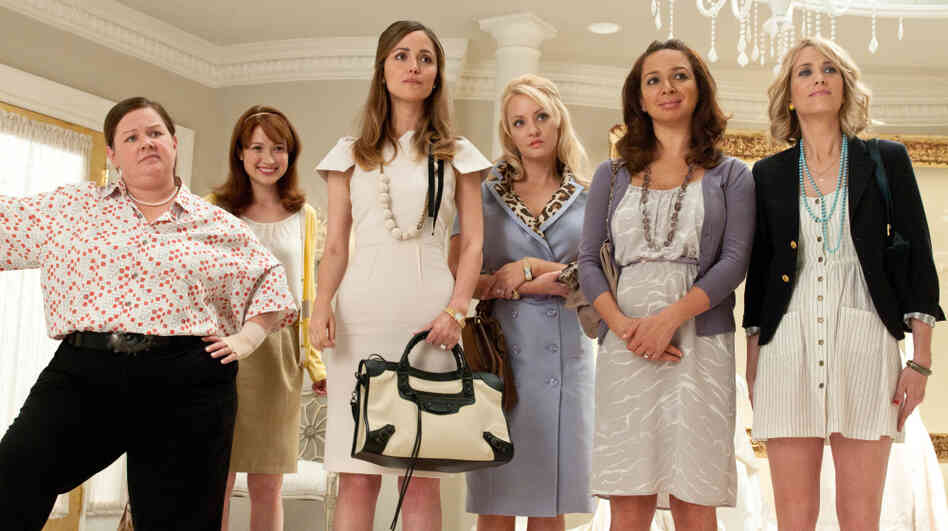 Bridal Partiers: Lillian (Maya Rudolph, second from right) recruits best friend Annie (Kristen Wiig, right) as maid of honor, forcing Annie to herd an unruly bunch of attendants including a nuclear engineer (Melissa McCarthy, left), a naive newlywed (Ellie Kemper), an upper-class snob (Rose Byrne) and a bored housewife (Wendi McLendon-Covey).