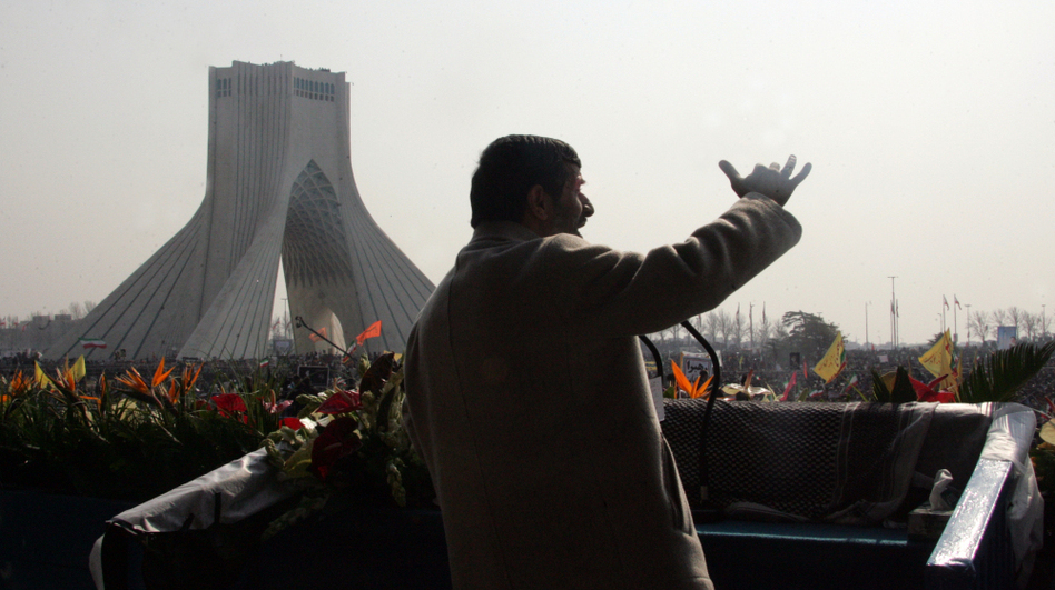 "Iranian President Mahmoud Ahmadinejad addresses tens of thousands of Iranians gathered in Azadi (Freedom) Square in Tehran to mark the 31st anniversary of the Islamic Revolution on Feb. 11, 2010. Ahmadinejad said Iran had produced a ""first stock"" of 20 percent enriched uranium for its nuclear program."