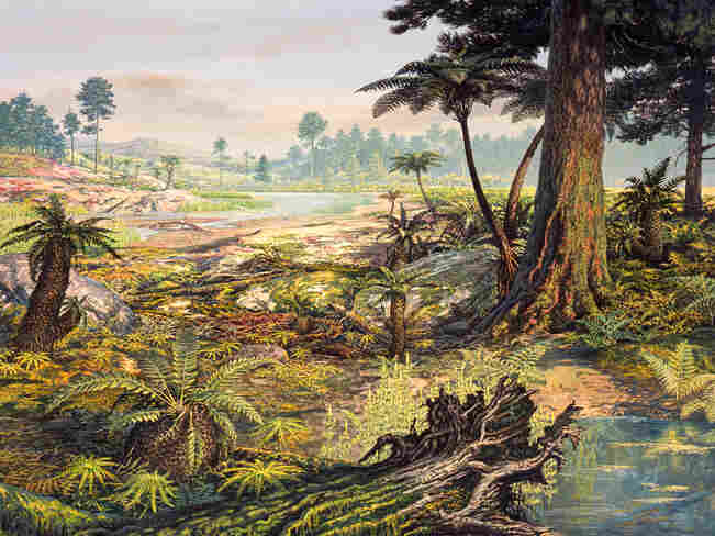 Illustration of a Jurassic landscape.